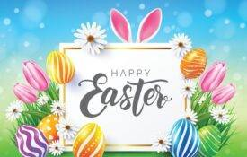 Image of easter eggs and message of happy easter